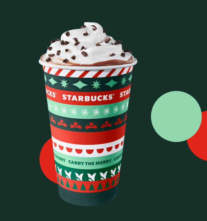 Starbucks coffee Christmas cup with whip cream and shredded chocolate.