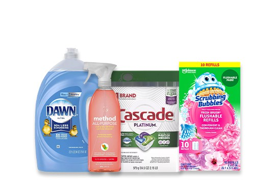 Household cleaning supplies including Dawn, Method, Cascade, and Scrubbing Bubbles.