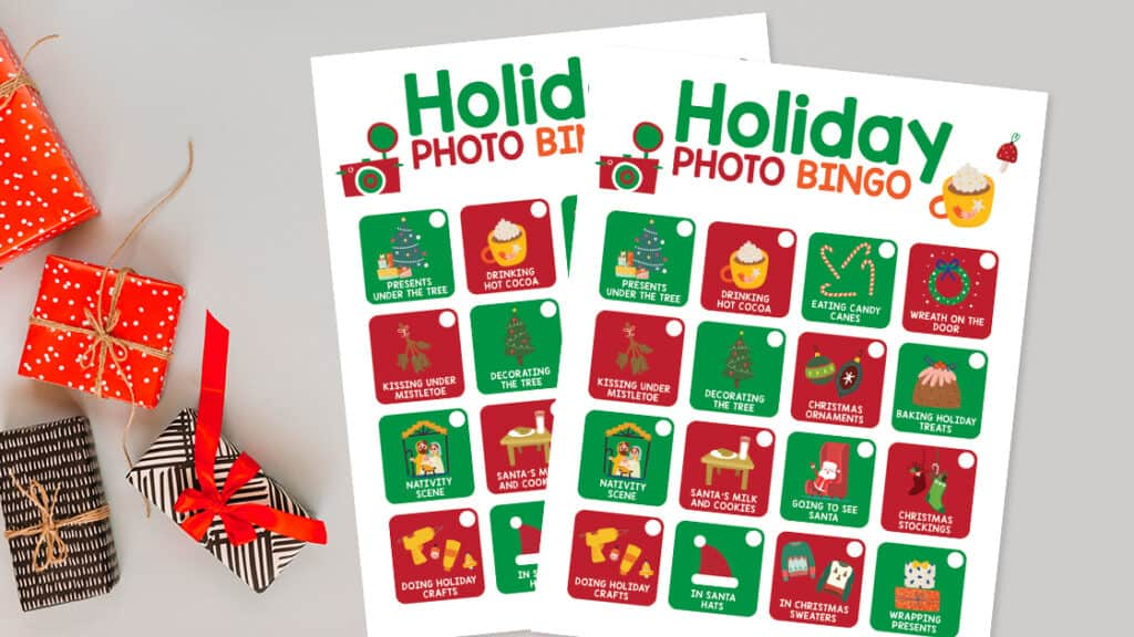 Christmas holiday photo bingo.
