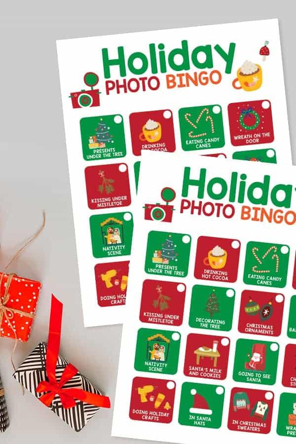 Free printable holiday photo bingo.