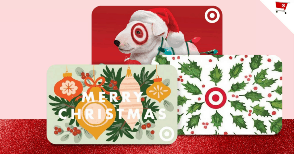 Several Christmas themed gift cards, including Christmas ornaments, decorations, and the Target dog.