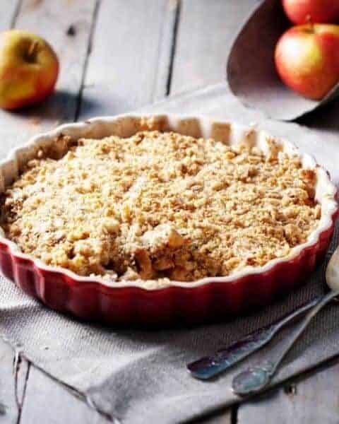 Cooked and delicious caramel apple crisp.