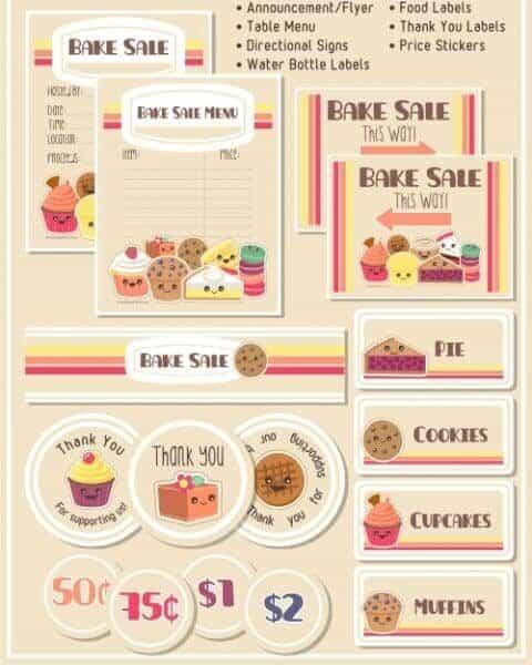 Cute bake sale printables.