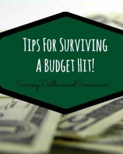"""An overlay of money with the words """"Tips for surviving a budget hit."""""""