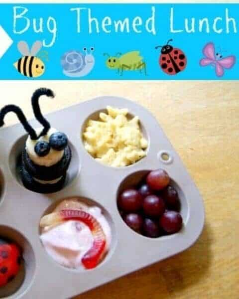 Bug themed lunch with yogurt and gummy worms, grapes, and other decorative foods.