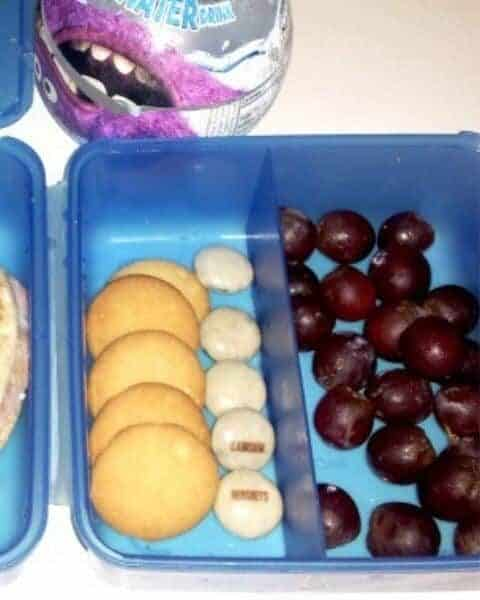 School themed lunch that involves the shape circle, including grapes and cookies.