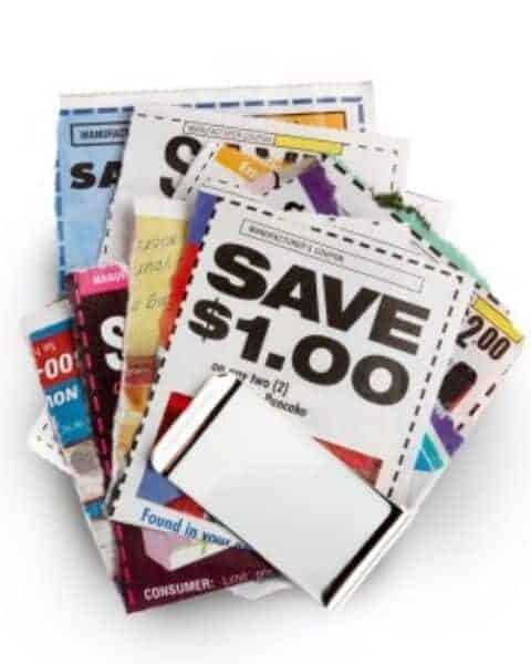 A pile of coupons on basic groceries.