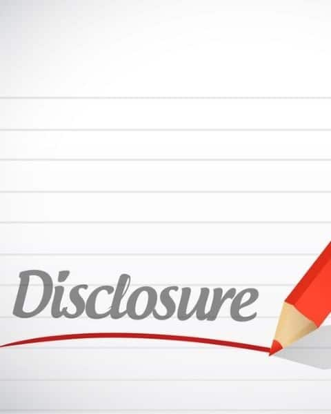 """Piece of paper with the word """"disclosure"""" written across the page."""