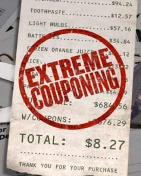 "A receipt with prices of items and savings due to coupon with a stamp that reads, ""extreme couponing."""