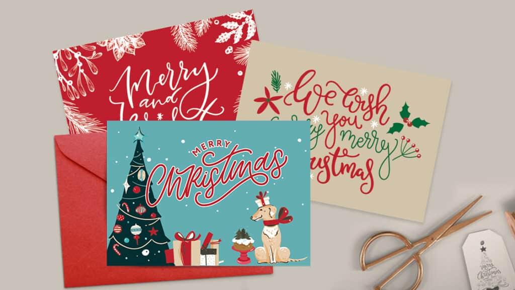 Printable Christmas Cards sitting on a table