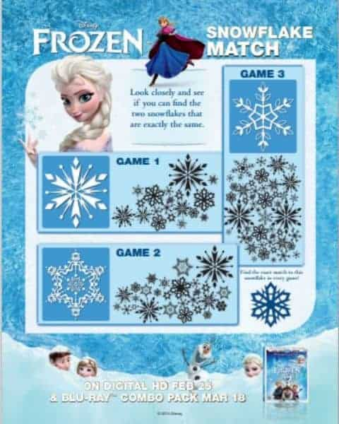 Free Disney Frozen activity snowflake match.
