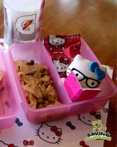 Hello Kitty themed lunch, including Hello Kitty fruit snacks and bow tie pasta.