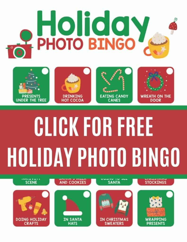 Free Christmas holiday photo bingo you can play with your family.