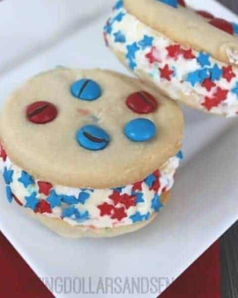 Homemade red, white, and blue ice cream sandwiches.