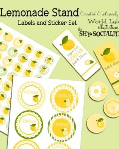 Lemonade stand label and sticker set.