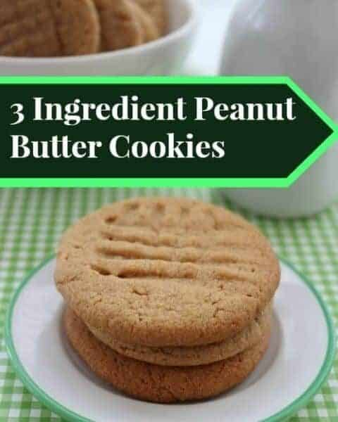 Peanut butter cookies made by using only three ingredients.