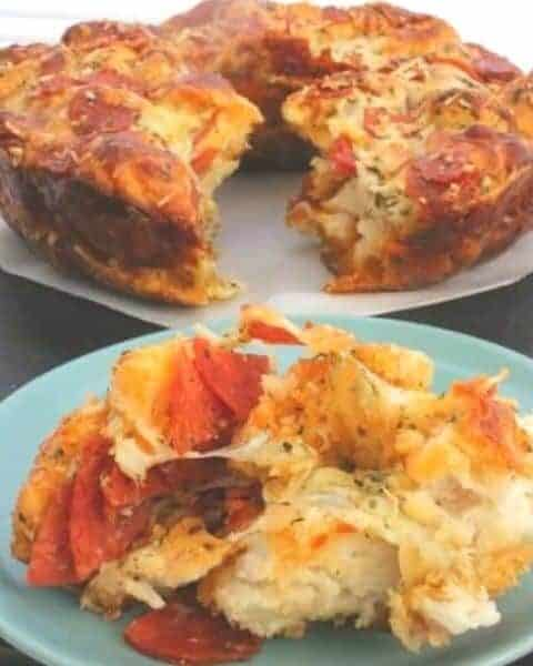 A slice of biscuit pizza bread.