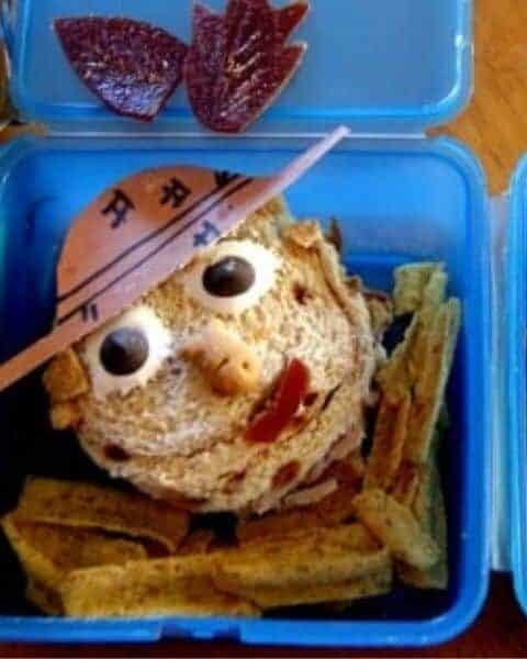 Scarecrow themed lunch for kids.