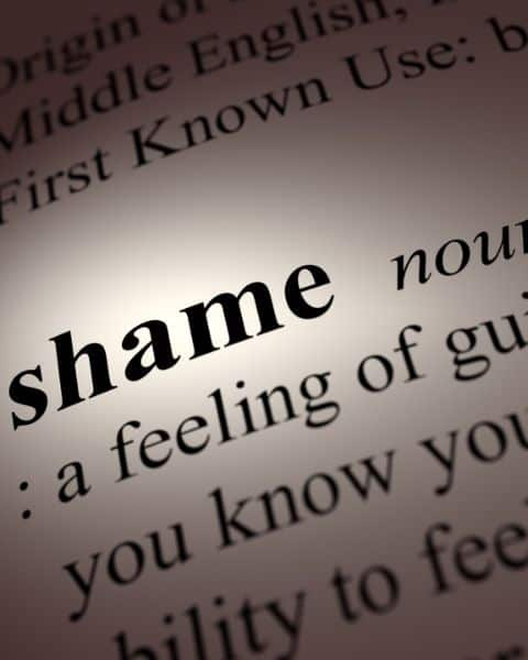 "A dictionary opened to the word ""shame."""