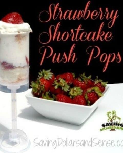 Strawberry shortcake push pops with strawberries, cake, and whip cream.