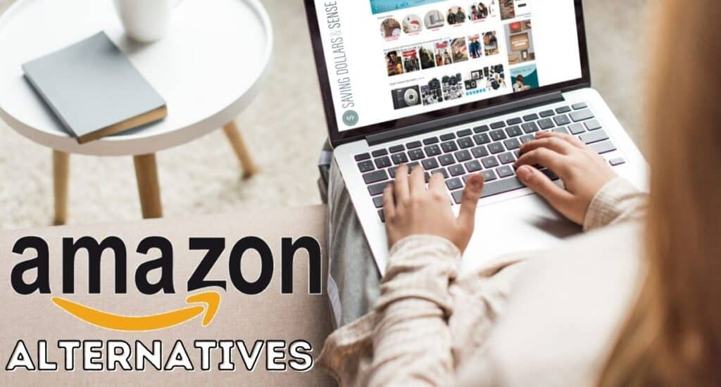 A person sitting on a couch while shopping on their laptop with the words Amazon Alternatives.