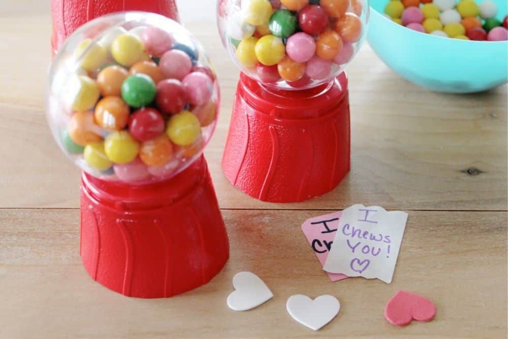 """Decorating the bubble gum dispensers with stickers and messages like """"I Chews You"""""""