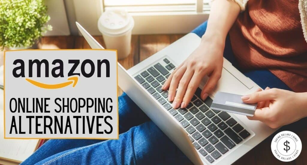 Person using a laptop to shop online while holding a credit card. The words Amazon Online Shopping Alternatives.