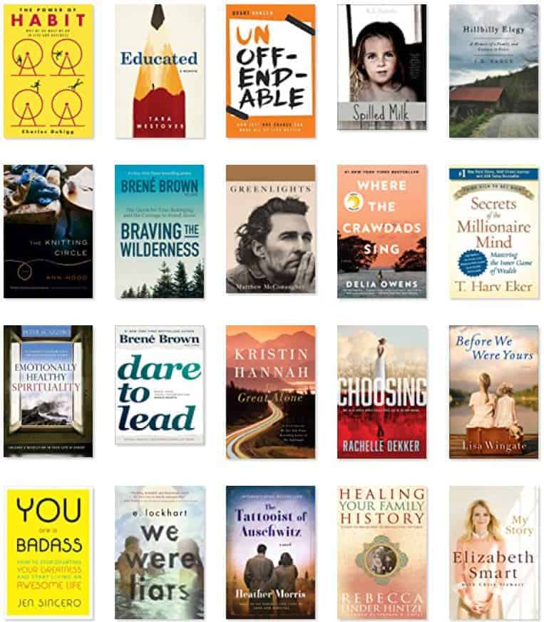 Top selling books from Amazon for 2020 including Green Lights, Educated, and Before We Were Yours.