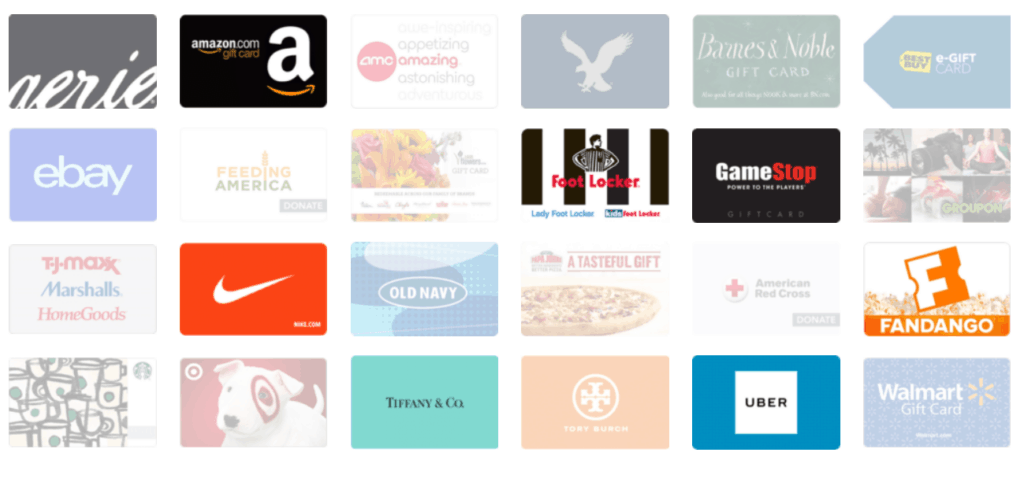 Several store gift cards including Aerie, Amazon, AMC, American Eagle, Barns & Noble, Best Buy, GameStop, Foot Locker, ebay, Nike, Target and more.