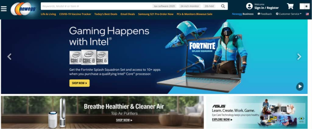 screenshot of the Newegg.com website.