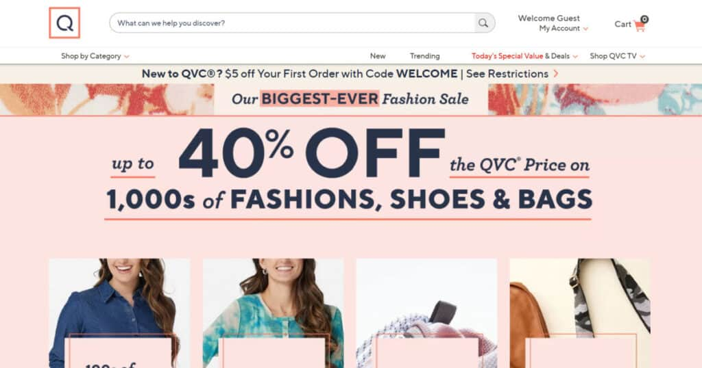 Screenshot of the QVC.com website.