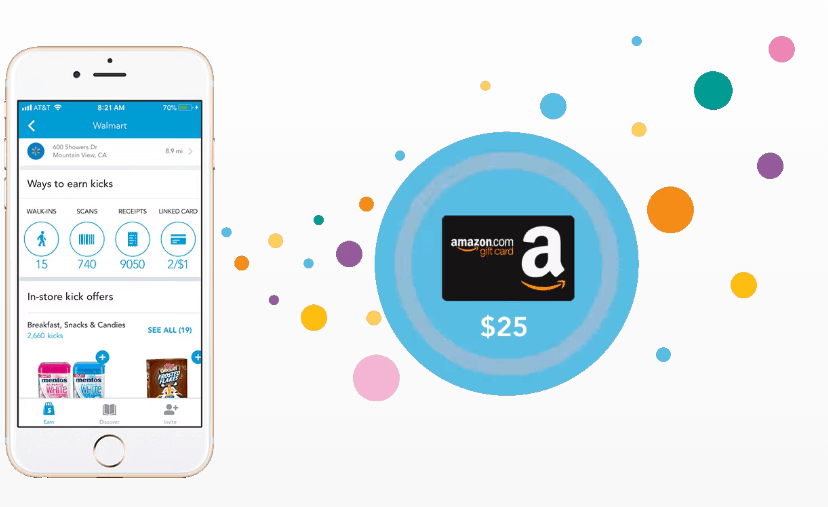 A cell phone with the Shopkick app showing on it next to a $25 Amazon Gift Card.