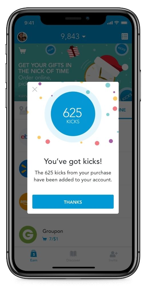 Cell phone showing the Shopkick app and a message that reads 625 kick, You've got kicks! The 625 kicks from your purchase have been added to your account. Thanks