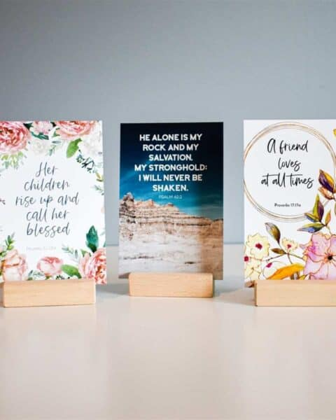 Three cards with Bible verses and decorated using florals.