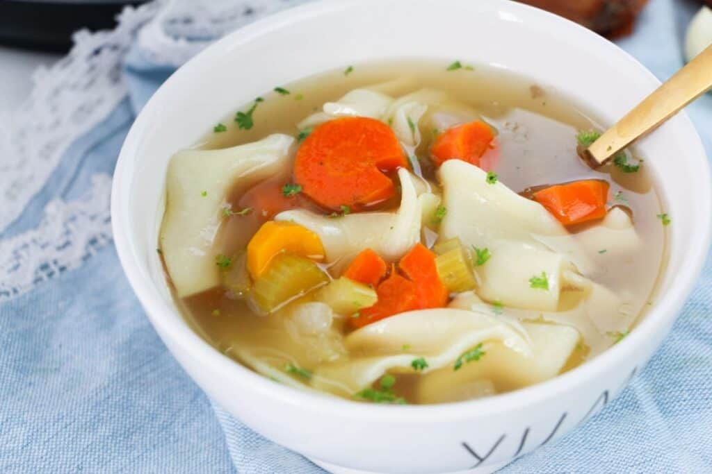 a bowlful of homemade chicken noodle soup.