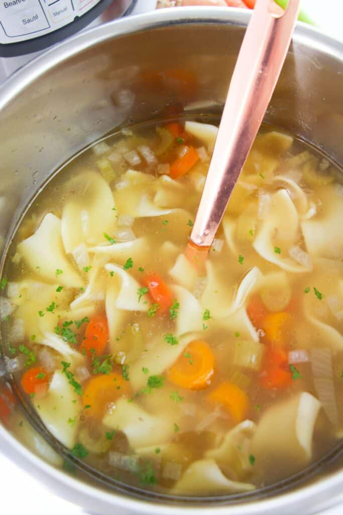 Finished chicken noodle soup in an Instant Pot with a large spoon.