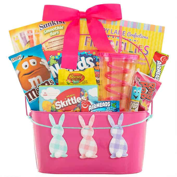 Happy Easter bunny pink metal pail.