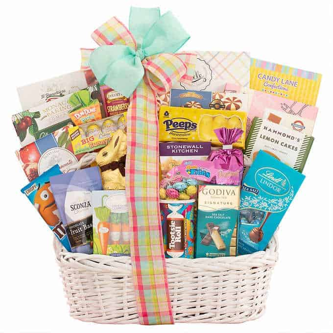 Happy Easter Deluxe baskets from Costco with chocolates and other delicious treats.