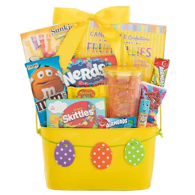 Candy bucket - happy Easter egg yellow bucket and treats.