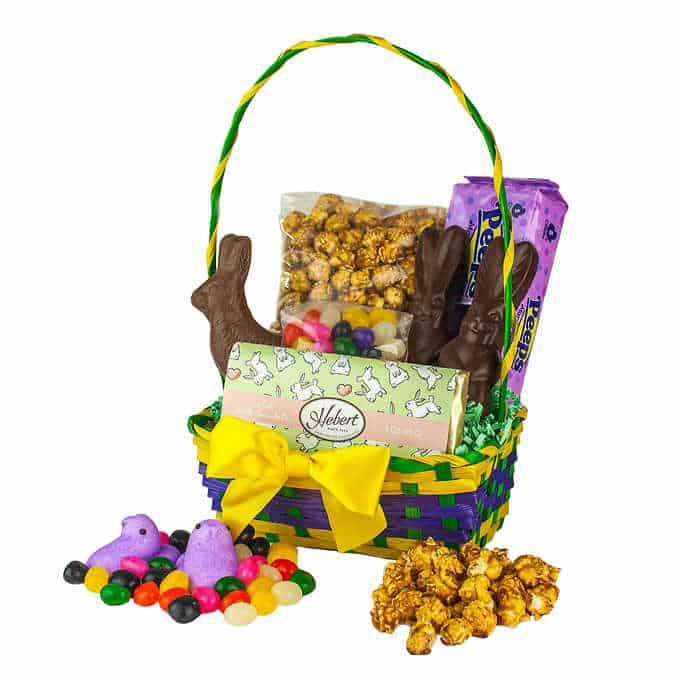 Hebert chocolate, raisons, popcorn, and chocolate treats.