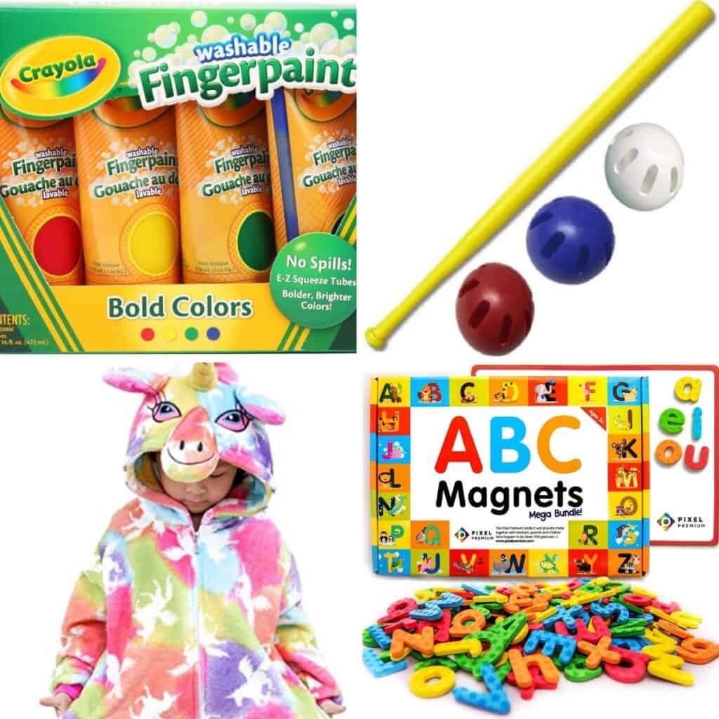 Paint, ABC magnets, unicorn pajama set.