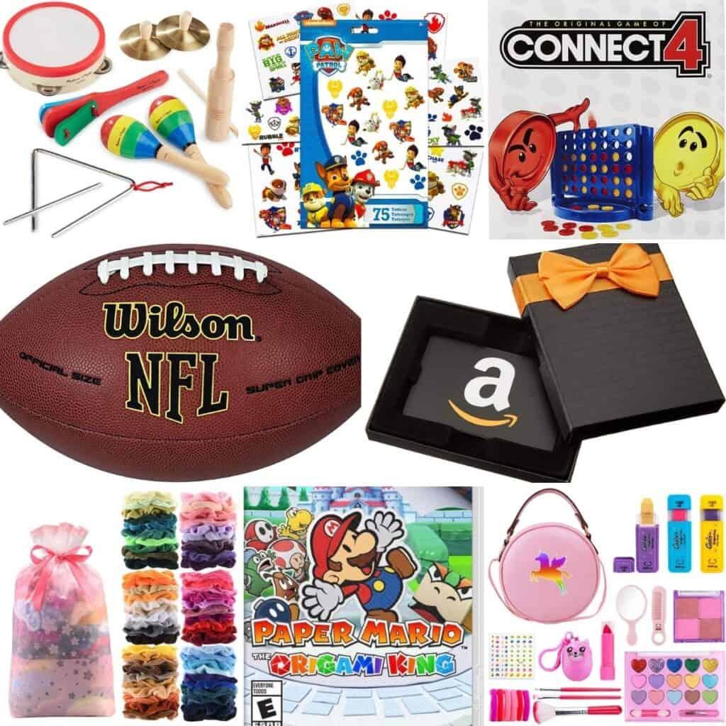Football, Amazon gift card, Unicorn purse, Connect 4.