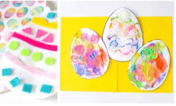 3D puffy paint Easter egg kids craft.