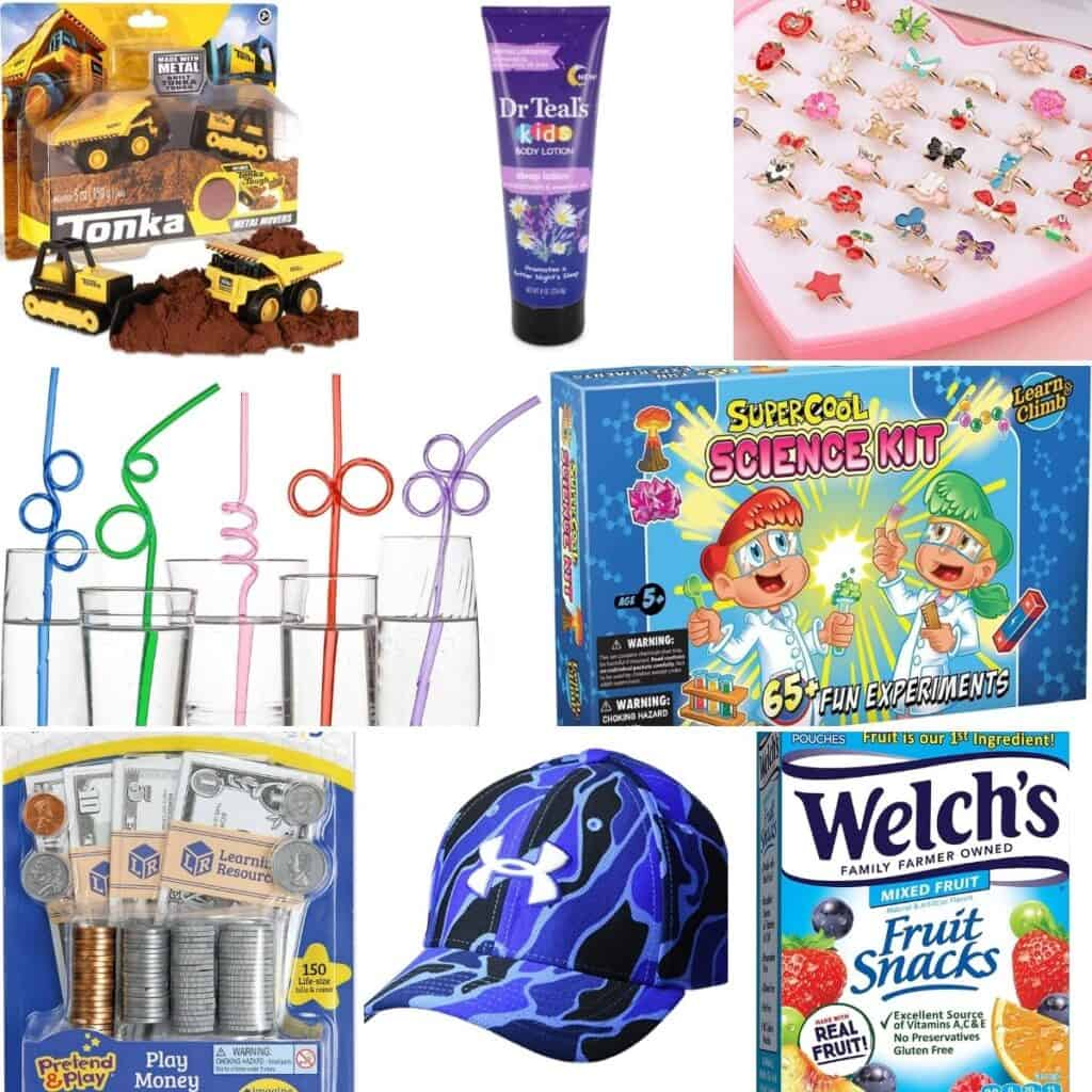 Tiny rings, crazy straws, fun science experiments, play money, fruit snacks, and hats.