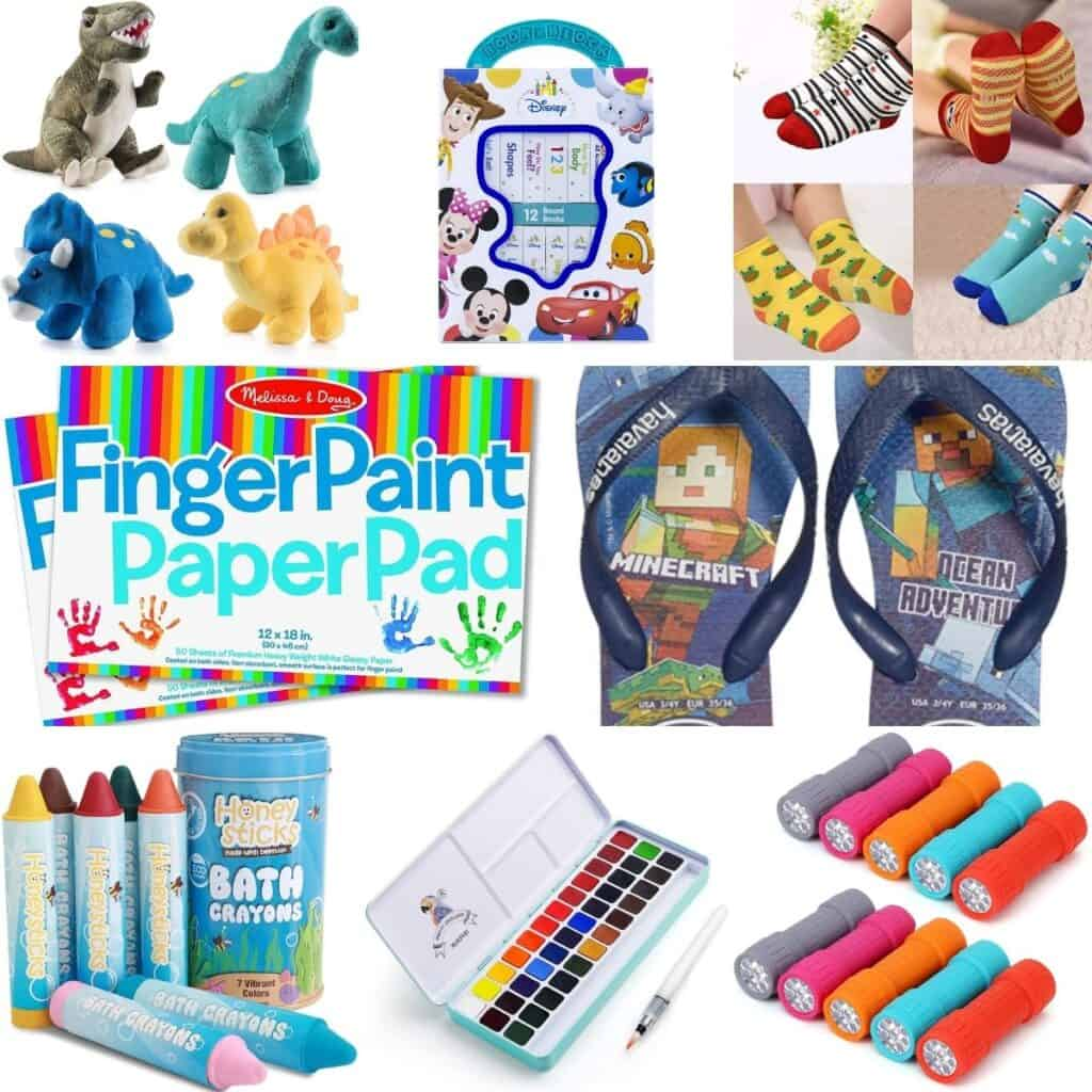 Dinosaur stuffed animals, socks, finger paint paper pad, Minecraft flipflops, and flashlights.
