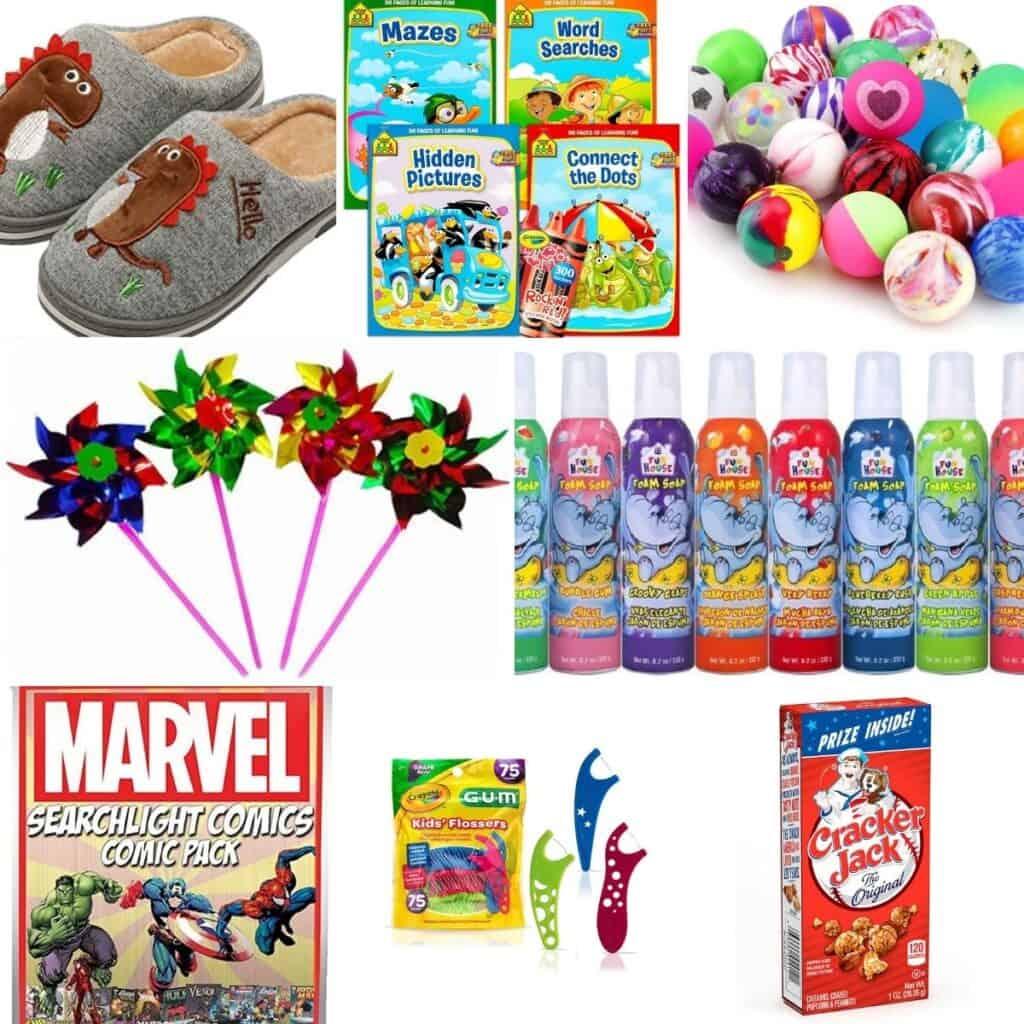 Fun educational books, bouncy balls, bubbles, Cracker Jack box, kid floss.