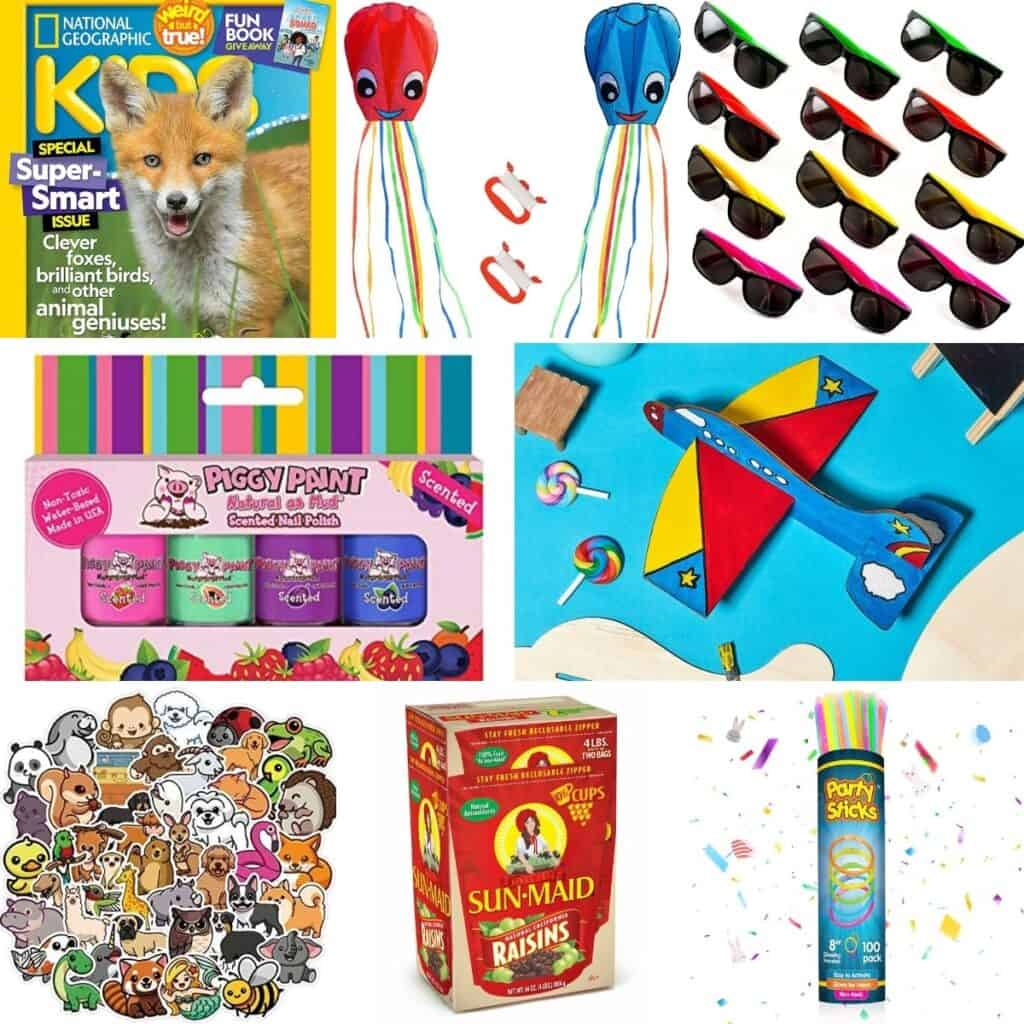 Sunglasses, toy airplanes, glow sticks, raisons, and stickers.