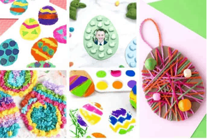 Sponge painting Easter egg craft and other Easter themed kids crafts.