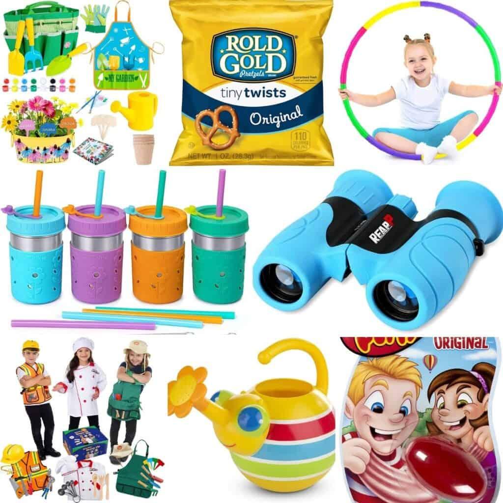 Pretzels, gardening sets, binoculars, games, children's costumes, and cups.