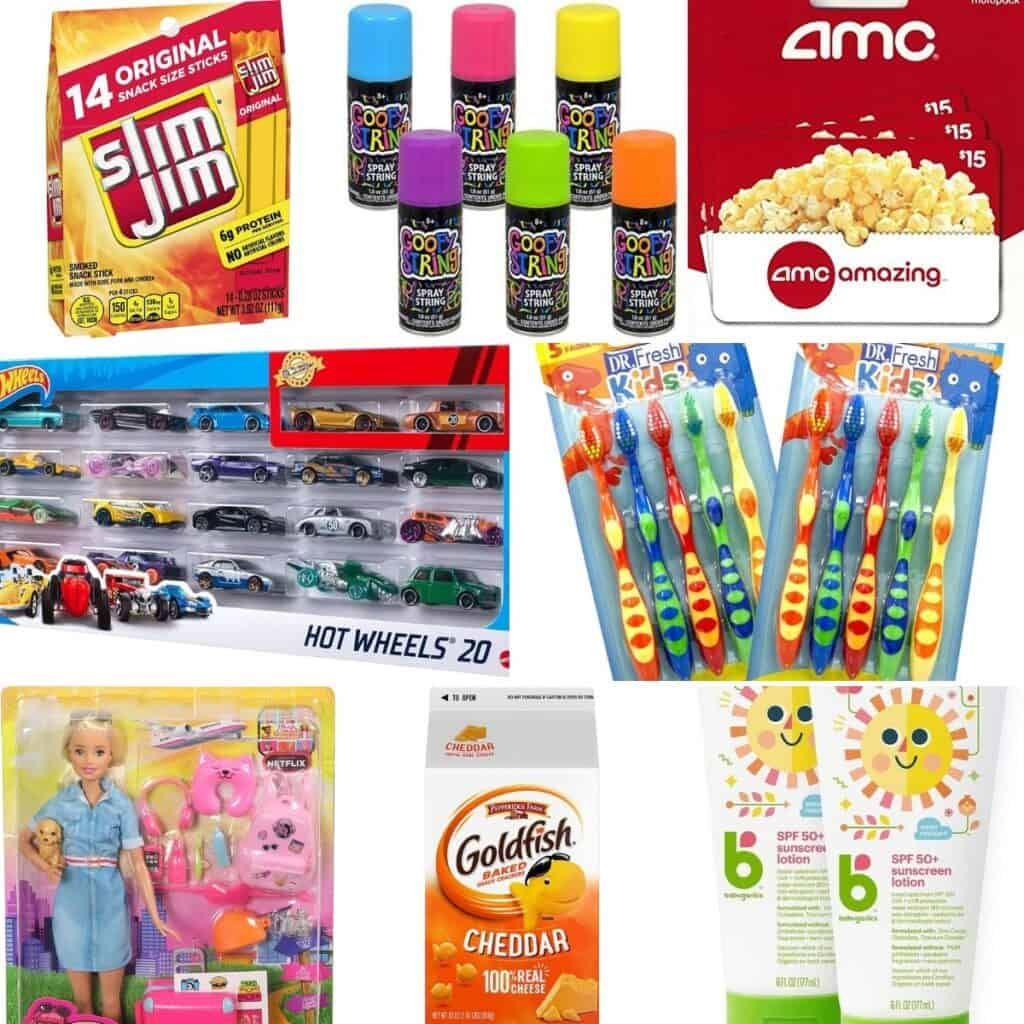 Slim Jim, popcorn, movie theater popcorn, toy cars, gold fish, kid toothbrushes, and Barbie vet.
